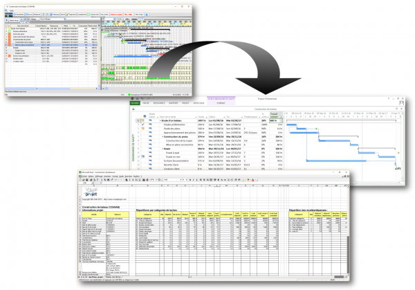 export VisualProjet vers MS Project et Excel